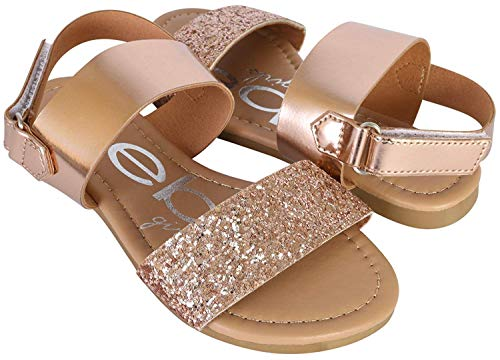 bebe Girls Metallic Sandals with Chunky Glitter Strap, Rose Gold, 1 M US Little Kid