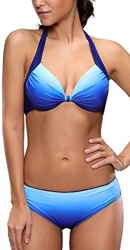 EUDOLAH Damen Zweiteiliger Neckholder Bikini Set Push Up Tankini mit Bügeln UV Schutz Swimmwear (Medium-EU 38, Marineblau)