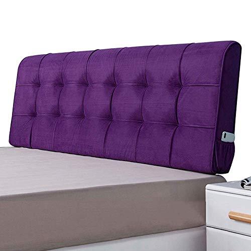 QIANCHENG-Cushion Kopfteil Rückenlehnen Bett Kissen Haushalt ohne Kopfteil Taillenschutz gepolsterte Auflage Doppelbett-Lesekissen Modern Waschbar, 9 Größe (Color : Purple, Size : 160x10x58cm)