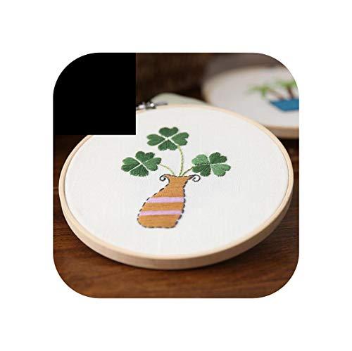 Einfaches Stickset für Anfänger Handarbeitsstich Sukkulenten-Kaktusblüten 15 cm mit Reifen DIY Art Sewing Craft-c-With bamboo hoop