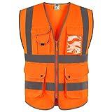 JKSafety Nueve bolsillos Nivel 2 Uniforme trabajo Chaleco con cremallera-Chaleco reflectante fluorescente-Chaleco de segurida Naranja(Large)