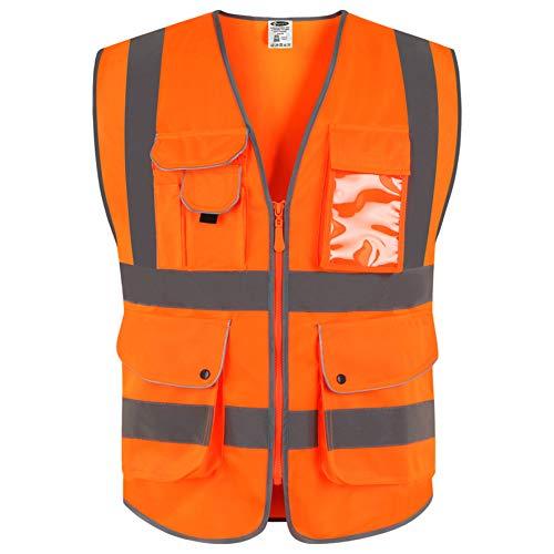 JKSafety Neun Taschen Unisex Hohe Sichtbarkeit Warnweste Reflektierende Weste Reißverschluss EN ISO 20471 Orange(Large)