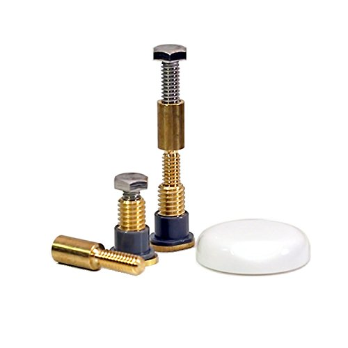 NEXT BY DANCO Zero Cut Bolts | Brass Toilet Mounting Bolts | Toilet Repair | White Bolt Caps |  Toilet Bolts Screws (10770)