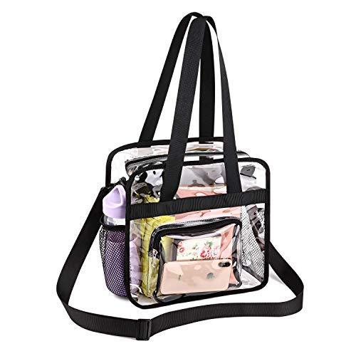 WENTS Bib Bag Tragetasche mit Reißverschlusstaschen Durchsichtige Tragetasche Transparent Kulturtasche PVC Kosmetiktasche mit Schultergurt und Reißverschluss