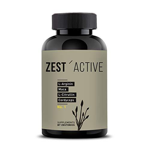 VERGLEICHSSIEGER 2020 bei ARGININ.DE: L-Arginin Base plus Citrullin (entspr. 2.400mg Arginin HCL) plus Maca Extrakt 680mg (entspr. 34.gr Maca Pulver) HOCHDOSIERT & Cordyceps sinensis - zest'active