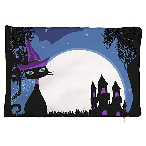 happygoluck1y Halloween witch cat Velvet Rectangular Cushion Covers 30x50 Decorative Pillow Cases with Zipper for Sofa Teen Girls