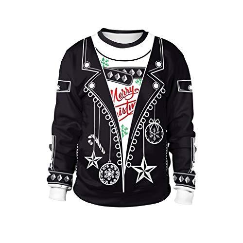 Crewneck Sweatshirt Christmas Sweatershirt Unisex Pullover, ☆Elecenty☆ 3D Print Shirts Lange Ärmel Freizeitjacke Langarmpullover Hässliche Mantel Sport Outwear