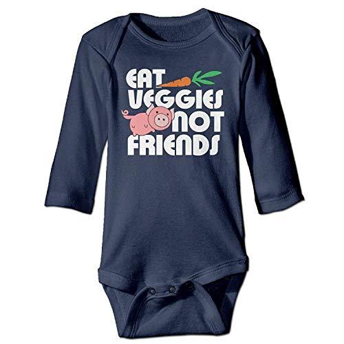 MSGDF Unisex Toddler Bodysuits Eat Veggies Not Friends Boys Babysuit Long Sleeve Jumpsuit Sunsuit Outfit Navy