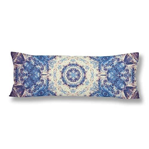 JamirtyRoy1 Funda de almohada con diseño de mandala fractal azul con cremallera de 55,8 x 154 cm, estilo indio, rectangular, funda de almohada para el hogar, sofá, ropa de cama decorativa