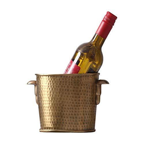 YYCHJU Cerveza Refrigerada Cubitera para Hielo Latón Hielo Cubo Cubo decoración Adornos Villa Hotel Clubhouse Vino Champagne Marco Decoraciones Suaves (Color : D22 x H14cm)