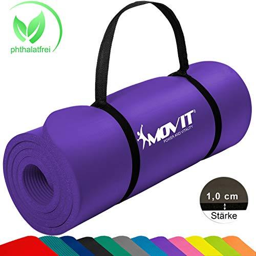 Movit Pilates Gymnastikmatte, Yogamatte, phthalatfrei, SGS geprüft, 183 x 60 x 1,0cm, Yoga Matte in Lila