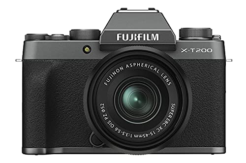 Fujifilm X-T200 24.2 MP Mirrorless Camera with XC 15-45 mm Lens (APS-C Sensor, Electronic Viewfinder, Vari-Angle LCD Touchscreen, Face/Eye AF, 4K Video Vlogging, Film Simulations) - Dark Silver
