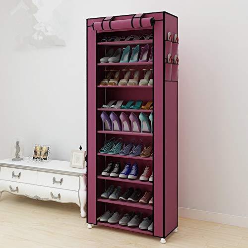 XGQ No Tejido Telas Grande Zapatero Zapatos Organizador de Almacenamiento extraíble Gabinete de Muebles for el hogar, Fila: Sola Fila (Negro) (Color : Wine Red)