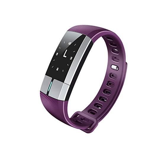 Intelligentes Armband, Herzfrequenz-Blutdruck-EKG-Monitoring-Schrittzähler, Herren und Damen, die ältere Universal-Multifunktionsuhr (Color : Purple)