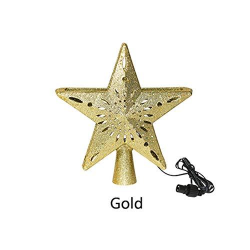 WANGIRL Spotlight 3D Star Christmas Tree Topper Schneeflocken-Projektorlichtern Beleuchteter Christbaumspitzen Drehender LED Projektor Glitzer Stern Nachtlicht Projektor Laterne (Color : Gold)