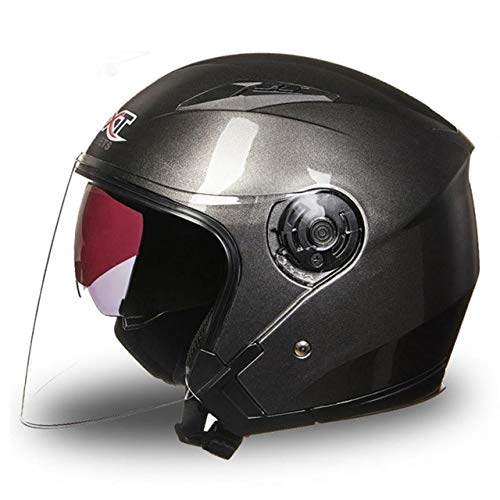 IAMZHL Unisex Motorradhelm Vollgesicht Anti-UV Electrombile Motorrad Rennrad Pinlock Visier Doppellinse Für 4 Jahreszeiten-Gray-XL