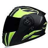 Casco de Motocicleta Abatible Integrado Cascos modulares de Moto de Visera Doble con Visera Completa para Hombres y Mujeres Adultos Dot/ECE Homologado (Color : Yellow A, Size : L/Large 59-60cm)