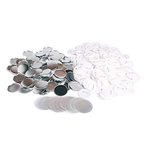 CO-Z 500-Piece 25mm/1 inch Blank Button Badge Parts Set for Button Making Machine, Metal Shells Clear Mylar and Plastic Base Components, DIY Arts Crafts Supplies for Gifts, Presents, Souvenirs