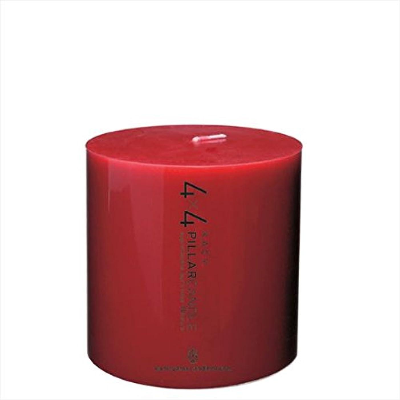 曖昧なヒール汚染されたカメヤマキャンドル(kameyama candle) 4×4ピラーキャンドル 「 レッド 」