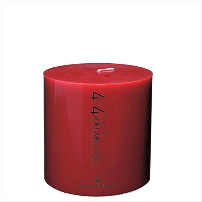 発送問い合わせおもてなしカメヤマキャンドル(kameyama candle) 4×4ピラーキャンドル 「 レッド 」