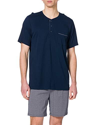 Schiesser Herren Schlafanzug kurz mit Knopfleisten Kragen, Pyjamaset, nachtblau, 54
