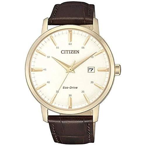 Citizen BM7463-12A Reloj de hombre Eco-Drive dorado con correa de piel marrón