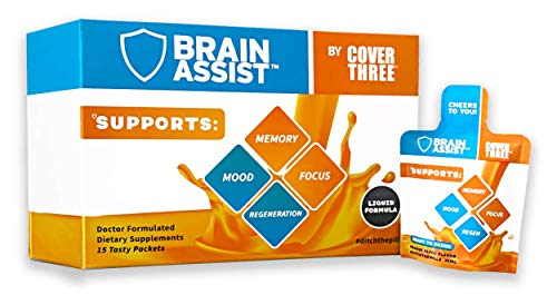 Brain Assist - Boost Focus, Memory, Concentration, Cognitive Regeneration - Transresveratrol, Omegas 3's, Curcumin, Vitamin C, Alpha GPC - Natural Nootropic Supplement- 15 Pack by Cover Three (1 Box)