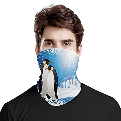 Gran cara cubierta bufanda proteccin cuello, lindos pinginos en Islandia en el rtico nevado clima congelado ilustracin nios, variedad bufanda de cabeza unisex