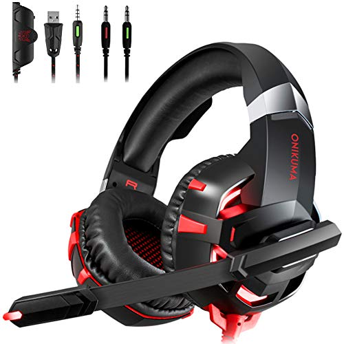 Stereo Gaming Headset for PS4, Xbox One, Nintendo Switch, PC, PS3, Mac, Laptop, Over Ear Headphones PS4 Headset Xbox One Headset with LED Light(Adapter Not Included)