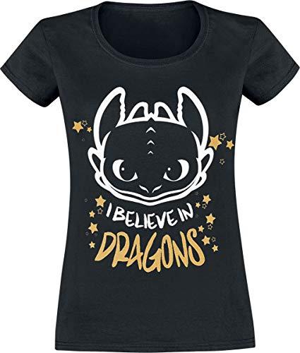 DRACHENZÄHMEN LEICHT GEMACHT Ohnezahn - I Believe In Dragons Frauen T-Shirt schwarz S
