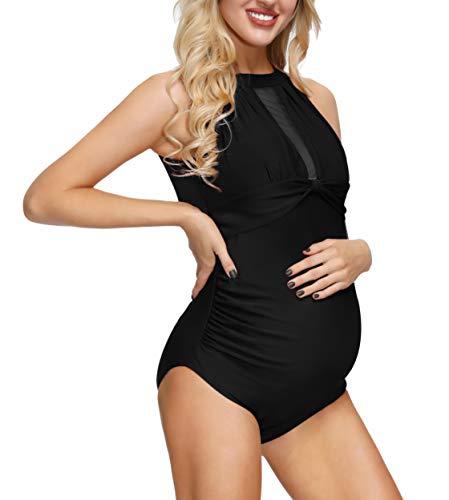 Women Off-Shoulder Maternity Swimsuits Flounce Floral One Piece Bathing Suits Black