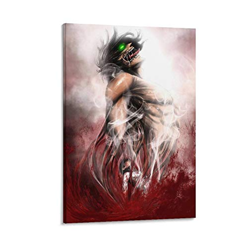 HAONANA Póster de Fond Anime Attack on Titan de Eren Titán, portada de personaje en lienzo, póster y arte de pared, moderno para dormitorio familiar, 60 x 40 cm