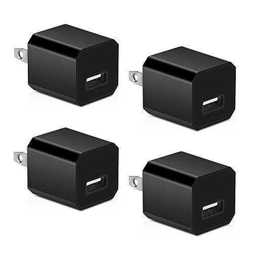 USB Wall Charger, HONGGE 5V/1A Universal Portable Travel Adapter High Speed 1.0A Output for iPhone iPad Samsung HTC LG iPod Nokia (Black-4 Pack)