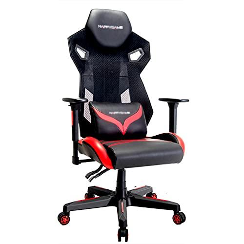 Silla de videojuegos, silla de videojuegos, silla de videojuegos, para adultos, altura ajustable, giratoria, de piel, ergonómica, para casa, oficina, escritorio, con soporte lumbar