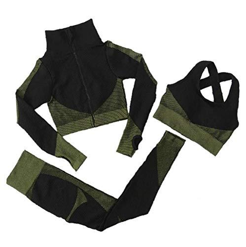 Frauen-Yoga-Klage Yoga-Klage Lange Hülsen-Mantel Weste Gamaschen 3pcs Sport-anzüge Fitness Yoga Laufen Sport Tracksuits Gymnastikausstattung (Green, S)