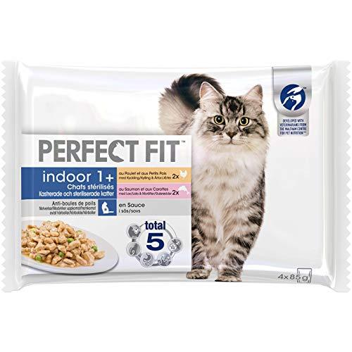 Perfect Fit Indoor - Sachets fraîcheur pour chat adulte d'intérieur stérilisé, en sauce au poulet et au saumon, 52 sachets repas de 85g