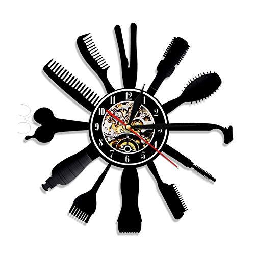 KEC Reloj de Pared con Registro de Vinilo para peluquería, Tienda de salón de Belleza, Relojes de Pared LED 3D Vintage, Reloj de Corte de Pelo, Regalo de peluquería