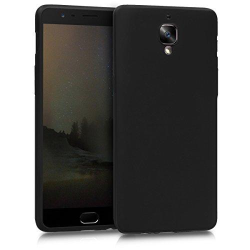 kwmobile Cover Compatibile con OnePlus 3 / 3T - Protezione Back Case Silicone TPU Effetto Metallizzato - Custodia Morbida Nero Metallizzato