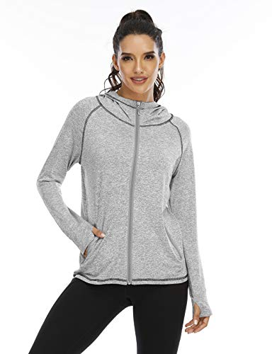 Koscacy Womens Zip Up Sweatshirt ,Hoodie Ladies Long Sleeve Zippered Seamless Active Hooded Sweatshirts Zip Pockets Moisture Wicking Lightweight Yoga Running Sports Jacket Grey Large