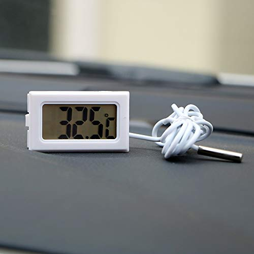 VFDZ Termómetro de coche con pantalla LCD, mini reloj digital medidor de temperatura para coche, adornos de coche para tanque de pescado (nombre del color: negro)