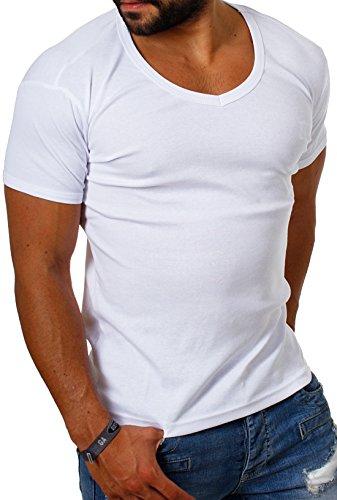 Young & Rich Herren Uni feinripp Basic T-Shirt tiefer runder V-Ausschnitt Slimfit deep Round V-Neck einfarbig 1874, Grösse:XL;Farbe:Weiß