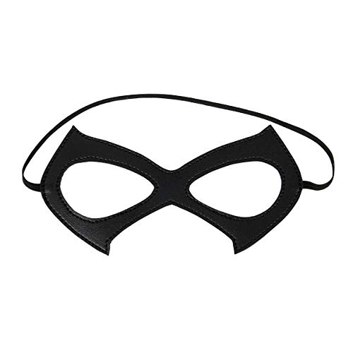 Luxury Black Red Leather Half Cat Eye Costume Mask Halloween Cosplay Fancy Dress Make Up Masquerade Party Props Accessory (Black A)