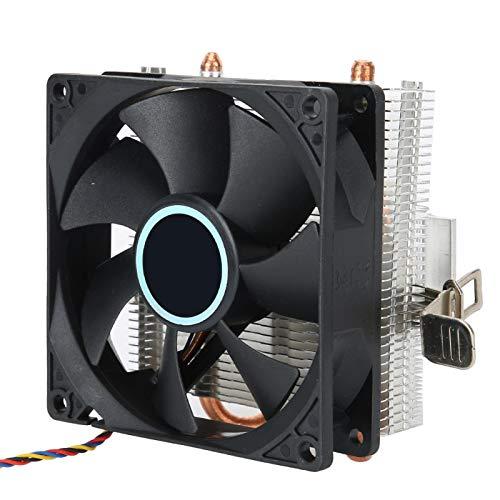 Socobeta Down Blow Mini Ventilador de CPU de 2 Tubos de latón Enfriador de CPU Disipador de Calor de CPU Disipación de Calor rápida Ventilador de enfriamiento de CPU eficiente para PC de Escritorio