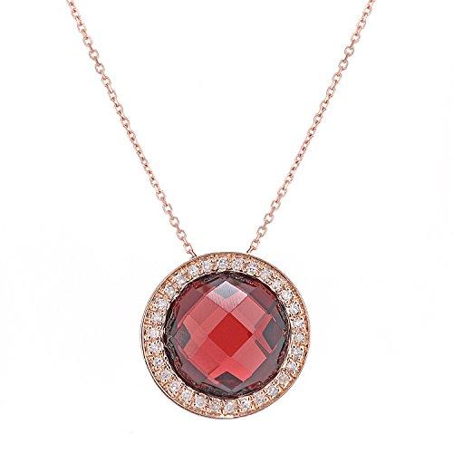 Naava Collana con Pendente da Donna in Oro Rosa 9K con Granato Rosso e Diamante, Taglio Cuscino