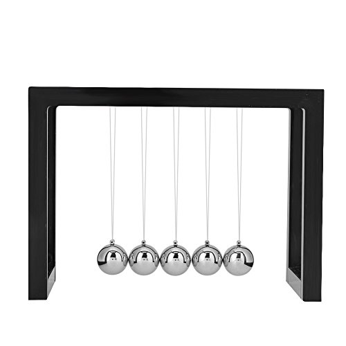 Newton's Cradle Executive Desktop Metall Handwerk Spielzeug Physik Pendel Wissenschaft Home Office Desktop Classic Balance Balls (Quadratisch: Schwarz/Weiß) (Schwarz)