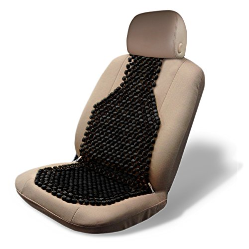 Black Wood Beaded Seat Cushion- Zone Tech Premium Quality Car Massaging Double Strung Wood Beaded Seat Cushion for Stress Free all Day!