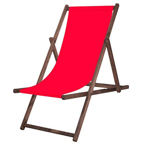 SPRINGOS Tumbona de jardín plegable, para relajarse, tiempo libre, casa y jardín, color rojo