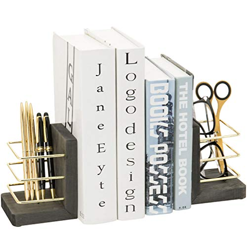 MyGift 2 Piece Set Vintage Gray Wood and Brass Tone Metal Wire Decorative Bookends with Pen Holder...