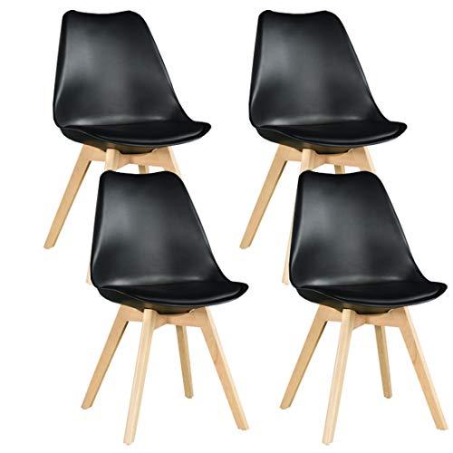 WAFTING 4er Set Esszimmerstühle Gepolsterter Seitenstuhl mit Buchenholz-Beinen und Weich Gepolsterte Tulip Chair für Esszimmer Wohnzimmer Schlafzimmer Küche, 4er Set (Gepolstert Schwarz) …