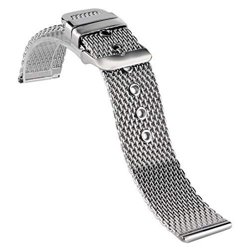 RHBLHQ Plata 20mm / 22mm / 24mm Reemplazo De La Banda De Acero Reloj De Pulsera Correa De Banda De Acero Hebilla Hombres (Size : 24mm)